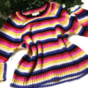 Cloud Chaser Rainbow 🌈 Striped Sweater Sz M NWOT